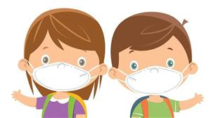 children with mask clipart