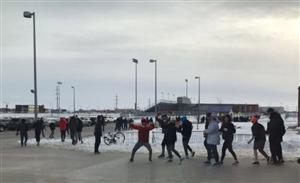 students walking to SHS